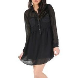 Volcom Black Lace Sheer Button Space Case Dress
